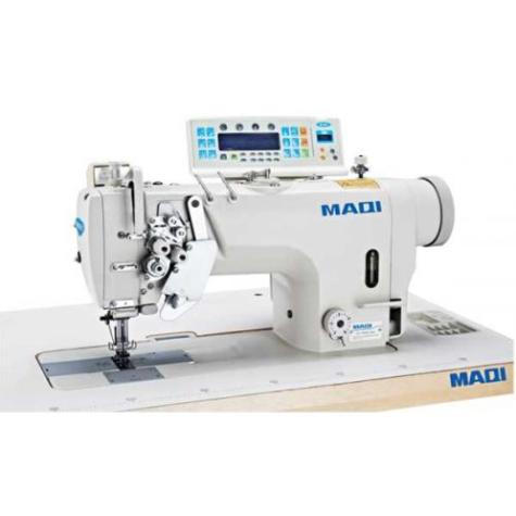 Двухигольная промышленная швейная машина с отключением игл, увеличенным челноком и полной автоматикой MAQI 8750N-D4