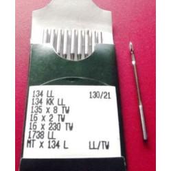 Игла Groz-Beckert 134LL, 135x8TW, PFx134LL с толстой колбой левая лопатка для кожи 10 шт/уп width=