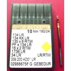 Игла Groz-Beckert 134LR GEBEDUR с толстой колбой и позолотой для кожи, правая лопатка 10 шт/уп width=
