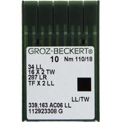 Игла Groz-Beckert 34LL, 16x2 TW, 287 LL с тонкой колбой левая лопатка для кожи 10 шт/уп width=