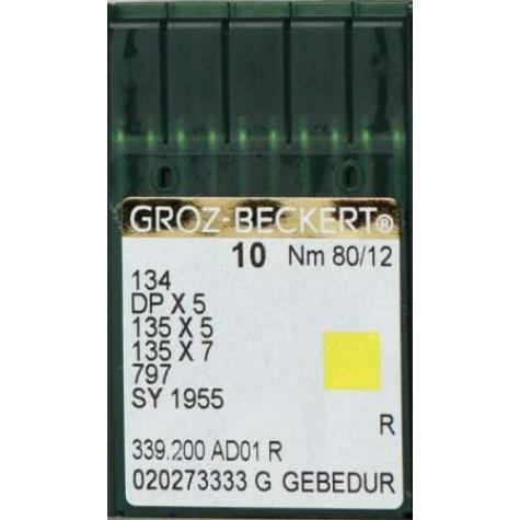Игла Groz-Beckert 134, DPx5, 135x5, 135x7, 797, SY1955, DPx7 GEBEDUR с толстой колбой для прямострочки 10 шт/уп