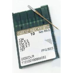 Игла Groz-Beckert 134, DPx5, 135x5 FFG GEBEDUR с толстой колбой и позолотой для трикотажа 10 шт/уп width=