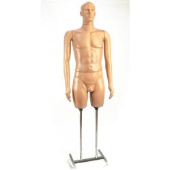 Манекен мужской в полный рост телесного цвета с лицом, на Н-образной подставке width=