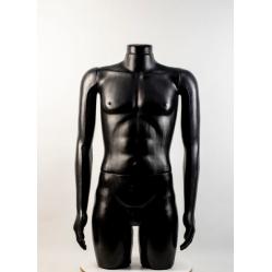 """Манекен мужской витринный укороченный """"Сенсей"""" черный без головы width="""