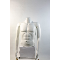 """Манекен мужской витринный укороченный торс без бедер белый """"Сенсей"""" без головы"""