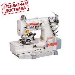 Siruba F007K-W222-356/FQ/FAC  плоскошовная швейная машина с устройствами подачи и пневмообрезки бейки
