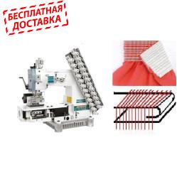 Siruba VC008-12064P/VWLB/FH Двенадцатиигольная машина цепного стежка с цилиндрической платформой, устройством подачи и растяжки резинки