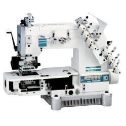 Siruba VC008-04085P/VCE/RL, VC008-04095P/VCE/RL, VC008-04127P/VCE/RL  Четырехигольная машина цепного стежка с цилиндрической платформой и роликами растяжки резинки width=