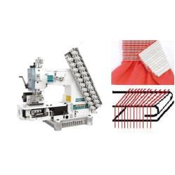 Siruba VC008-12064P/VWLC/FH Двенадцатиигольная машина цепного стежка с цилиндрической платформой, устройством подачи и растяжки резинки width=