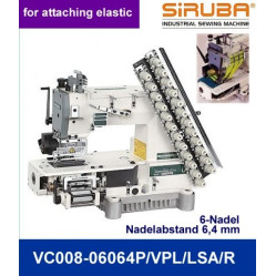 Siruba VС008-06060P/VPL/LSA/R,  Шестиигольная лампасная машина цепного стежка с цилиндрической платформой width=